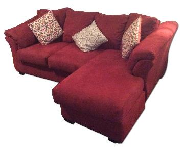 Ashley's Red Microfiber Sectional Sofa + Chair & Ottoman