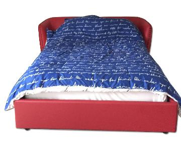 Red Queen Size Leather Bed Frame