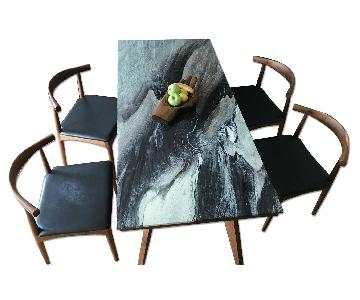 Organic Modernism Walnut & Marble Table w/ 4 Leather Chairs