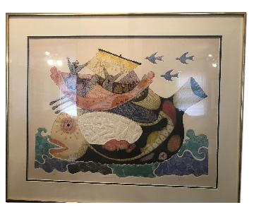 Amram Ebgi Lithograph - Jonah and the Whale