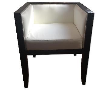 White Leather Chair w/ Dark Wood Frame