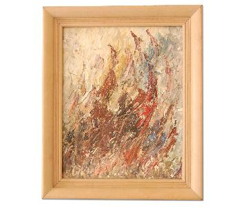 Vintage Abstract Oil on Board Painting in Brown Palette
