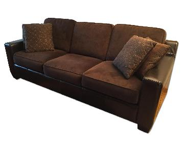 Raymour & Flanigan Velvet Sofa w/ Faux Leather Armrests