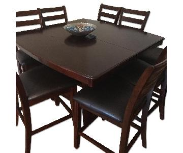 Wooden Espresso Dining Table w/ 8 Chairs