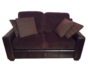 Raymour & Raymour Velvet Loveseat w/ Faux Leather Armrests