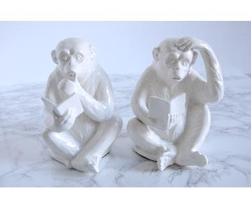Vintage Fitz & Floyd Porcelain Monkey Bookends