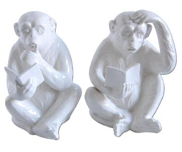 Vintage Fitz & Floyd Porcelain Monkey Bookends