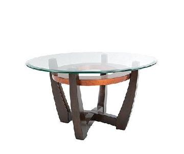 Raymour & Flanigan Round End Table w/ Glass Top
