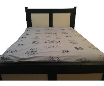 Custom Made Painted Wood Full Bed w/ Roll Out Twin Trundle