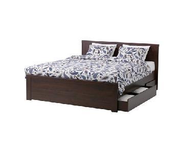 Ikea Brusali Queen Bed w/ Storage Drawers