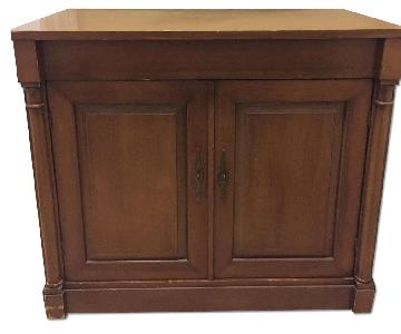 Hardwood Side Table w/ Storage & Flip-Up Bar