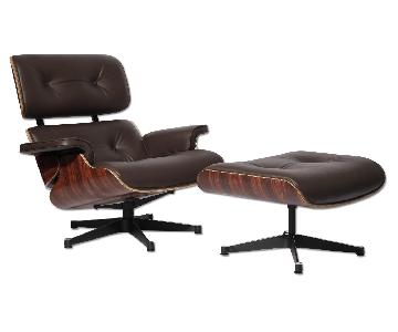 Classic Lounge Chair & Ottoman in Brown
