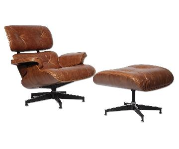 Classic Lounge Chair & Ottoman in Antique Brown