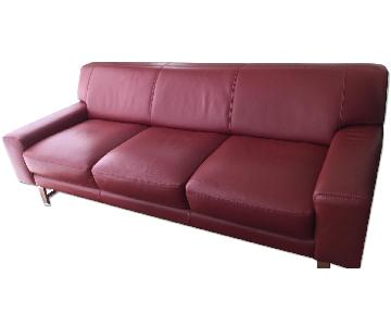 Bloomingdale's Red Leather 3 Seater Sofa