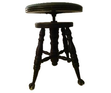 Antique Victorian Clawfoot Adjustable Swiveling Piano Stool