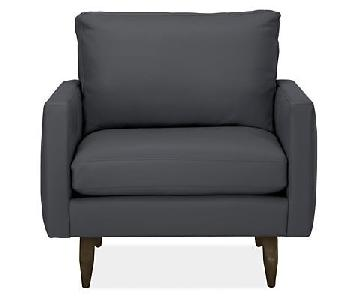 Room & Board Dark Grey Leather Armchair