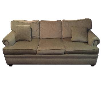 Ethan Allen Green Suede Couch