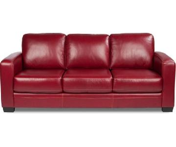 Scandinavian Designs Pavia Red Leather Sleeper Sofa
