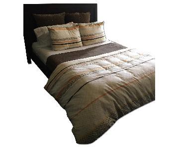 BoConcept Dark Finish Wood Queen Size Bed Frame