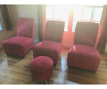 Suede Accent Chairs & Ottoman