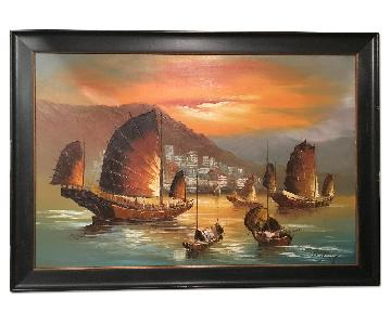 Vintage Seascape Oil Painting on Canvas