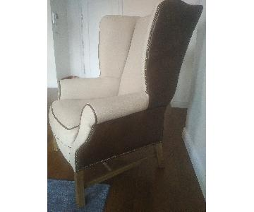 Timothy Oulton Leather & Linen Wingback Chair