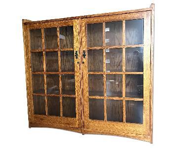 Restoration Hardware Mission Style Oak & Glass Bookcase
