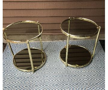 Vintage Brass & Smoked Glass Tiered Side Table