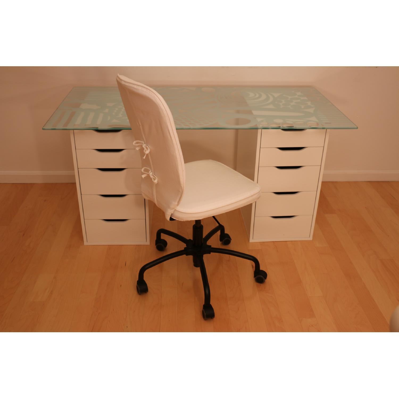 Ikea Glass Top Desk W 2 Drawer Units Swivel Chair Aptdeco