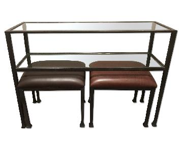 Pottery Barn Entry Console Table w/ 2 Leather Stools