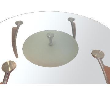 Modern Tempered Glass 5 Piece Dining Set