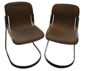 Italian Leather & Chrome Accent/Dining/Side Chairs