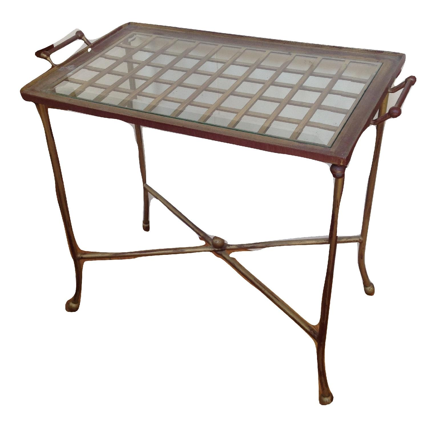 Hollywood Regency Style Brass Tray Butler Table
