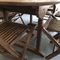 Oval Outdoor Teak Wood 7 Piece Dining Set