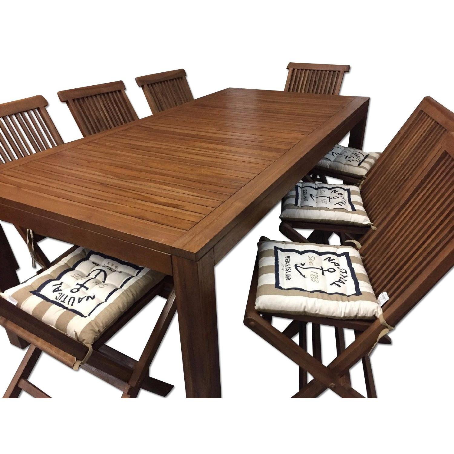 Teak Wood Patio Dining Table w/ 6 Chairs