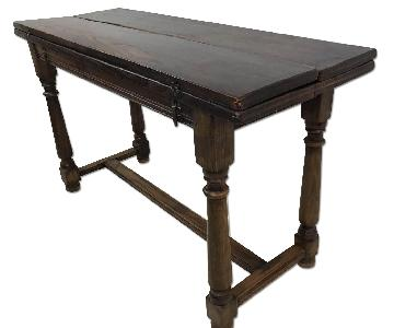 Antique 19C Oak Abbey Folding Top Dining Table
