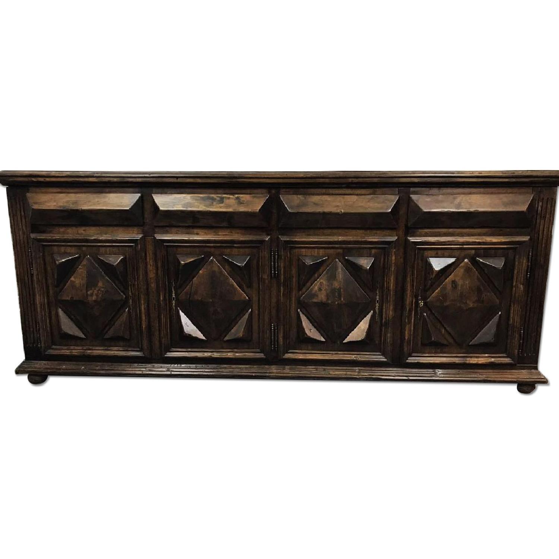 Antique Jacobean Oak Sideboard Cabinet w/ Ornate Patterns
