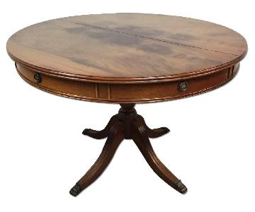 Mahogany Drum Expandable Dining Table w/ Claw Feet