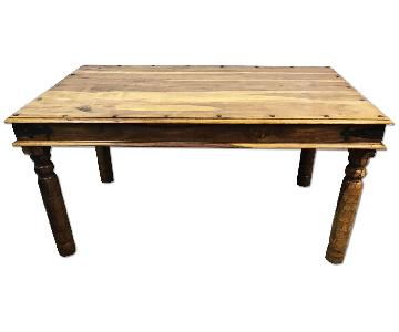Asian Solid Wood Dining Table w/ Hand Hammered Iron