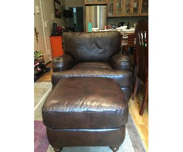 Steve Silver Co. Brown Leather Chair and a Half & Ottoman