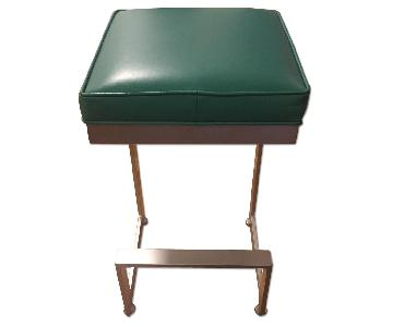 Johnston Casuals Furniture Teal Leather Bar Stools