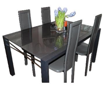 Ligne Roset Glass Dining Table w/ 4 Leather Chairs