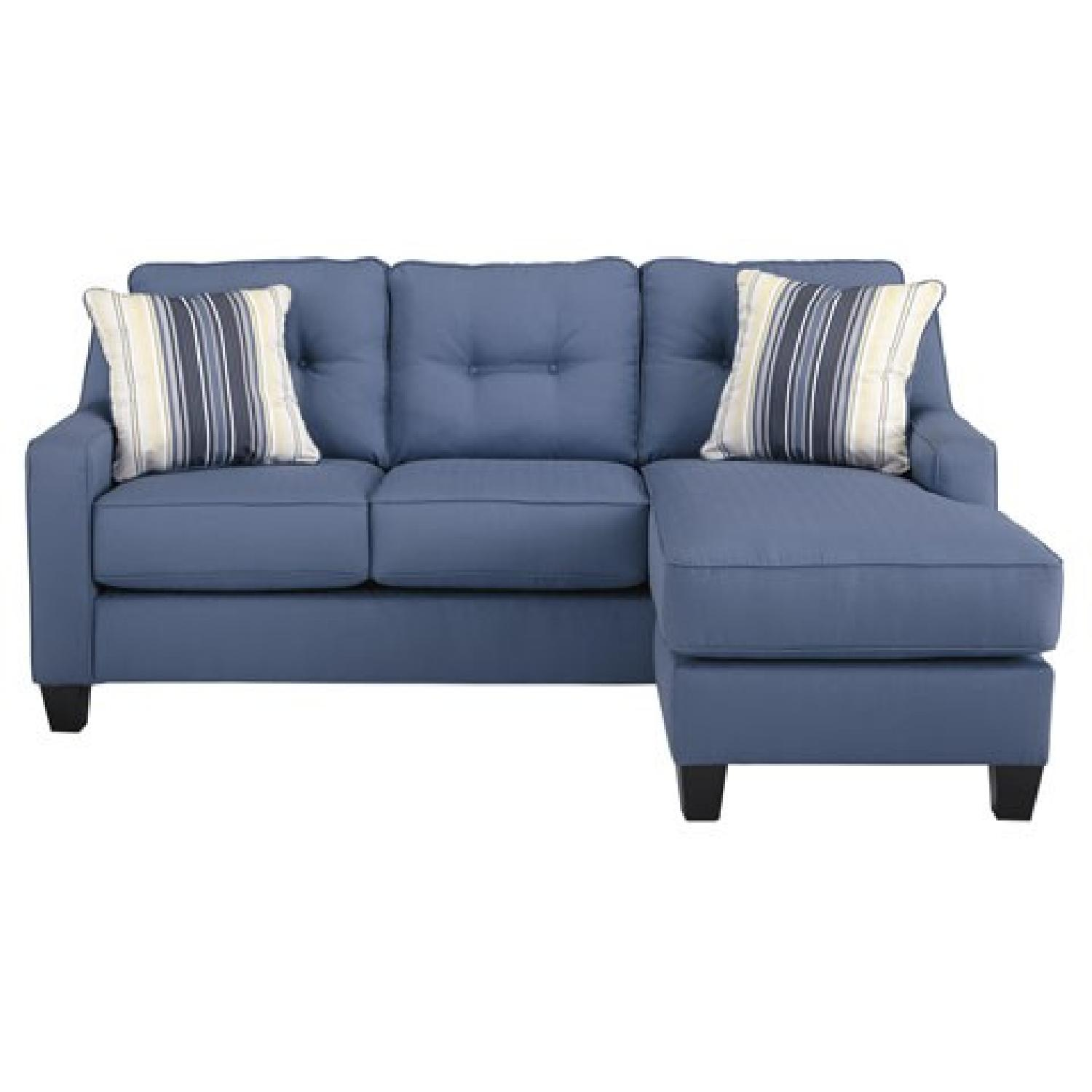 Aldie Blue Sectional Sofa W Chaise