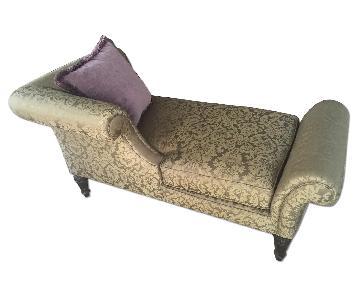 Bernhardt Custom Silk Chaise Lounge & Matching Velvet Pillow