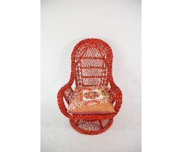 Red Wicker Rocker/Swivel Chair