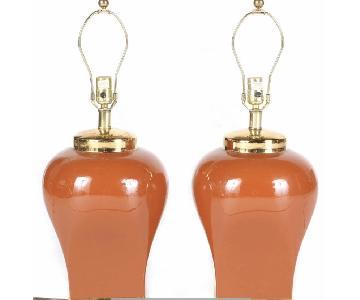 Vintage Orange Ceramic Table Lamps