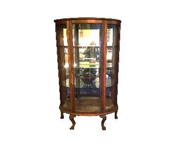 Victorian Oak & Curved-Glass Curio Cabinet