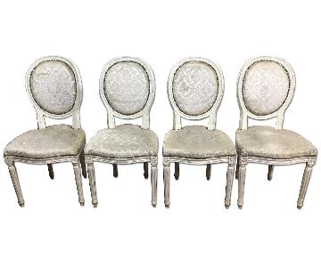 Antique Louis XVI Dining Chairs w/ White Upholstery