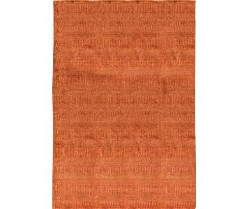 Indo Collection Damask Rug in Rust