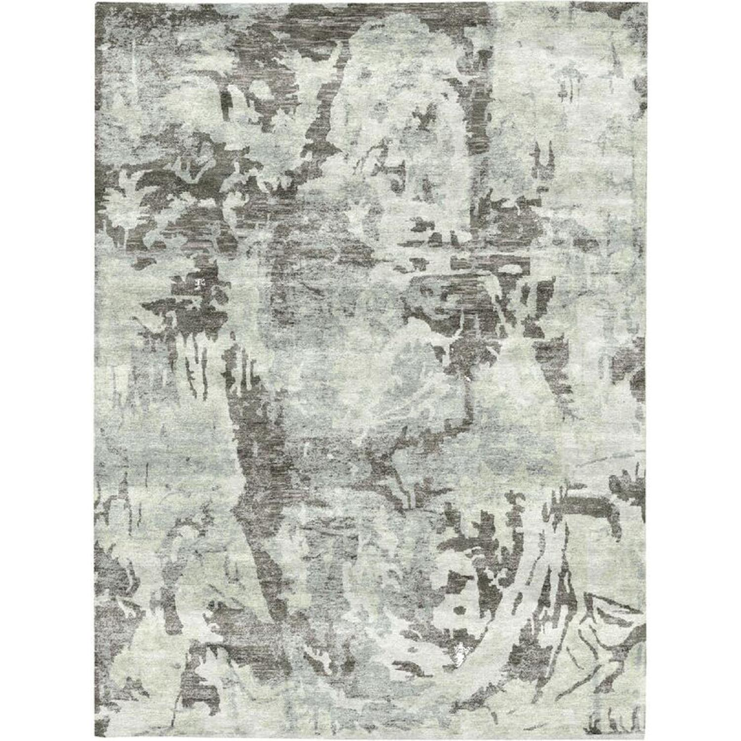 Bamboo Viscose/Cotton Rug in Silver/Charcoal